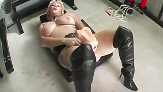 Depraved floosie Mary Bitch takes massive dildo