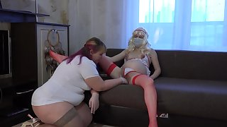 Lesbians bbw and her silver-tongued girlfriend