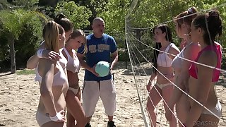 Beach volleyball is turned into a categorically evil lesbian intercourse with Britney Amber
